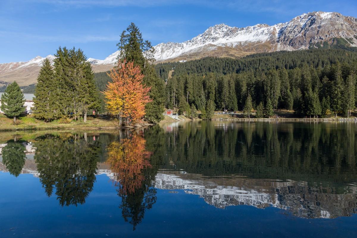 Herbst am Heidsee auf der Lenzerheide mit Parpaner Rothorn