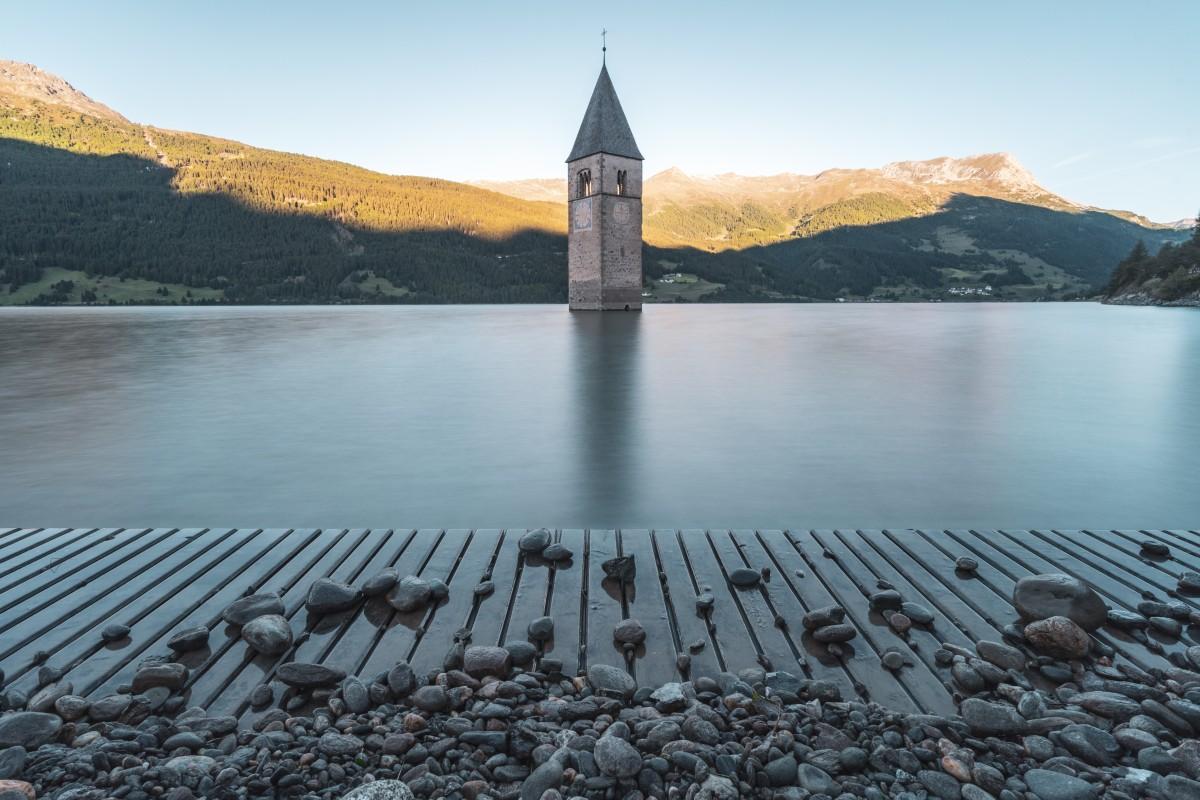 Sonnenaufgang am Reschensee - Lago di Resia