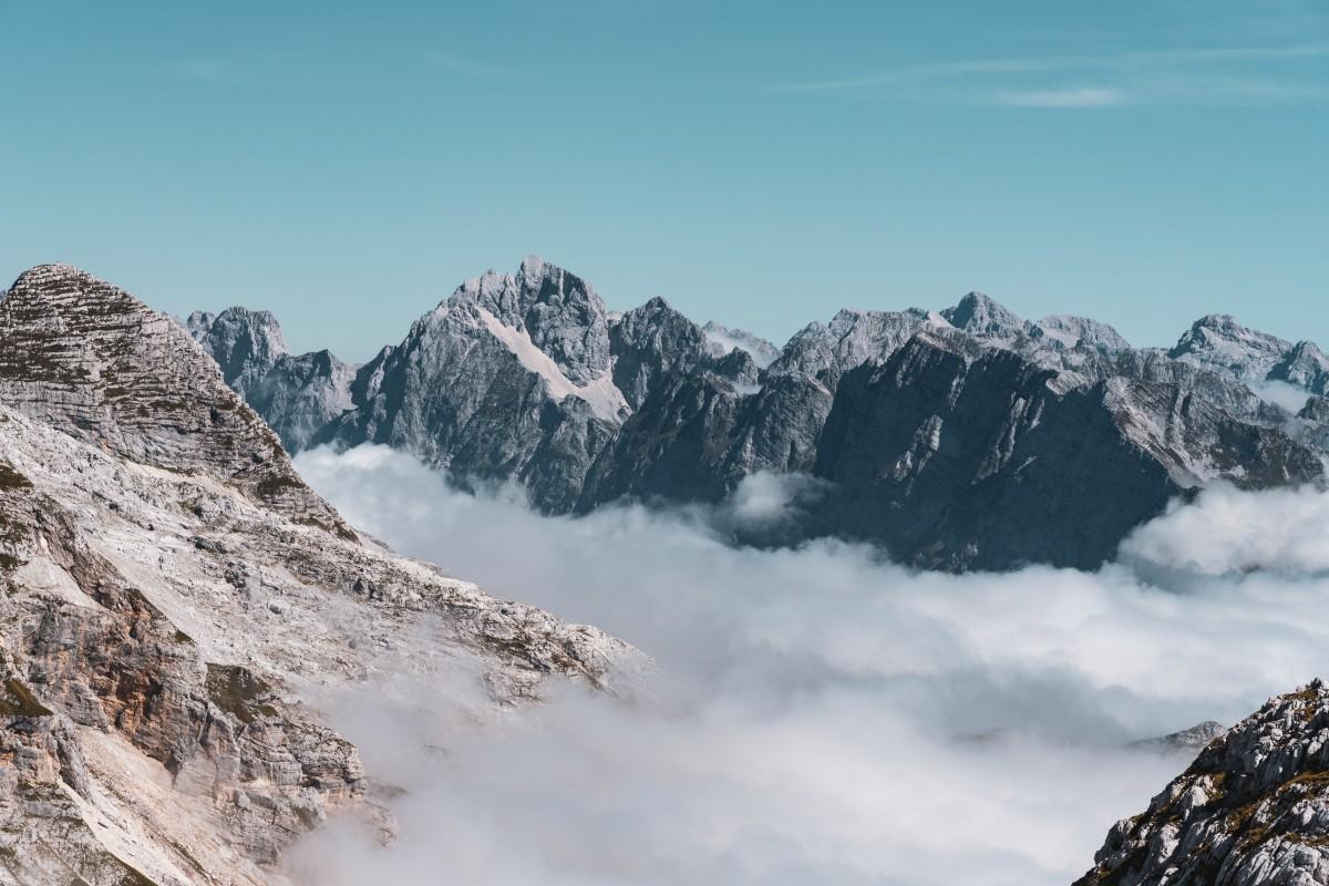 Ausblick vom Kanin auf die julischen Alpen