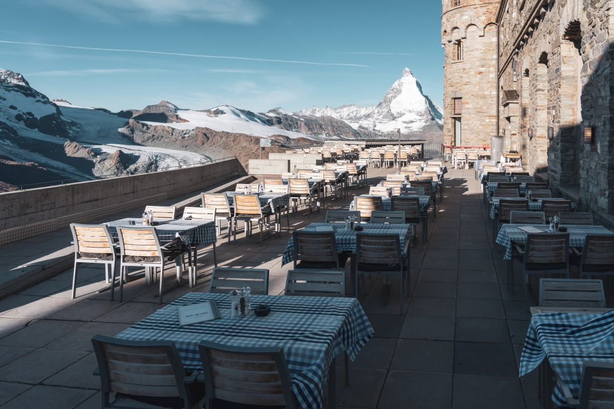 Terrasse auf dem Gornergrat mit Matterhorn