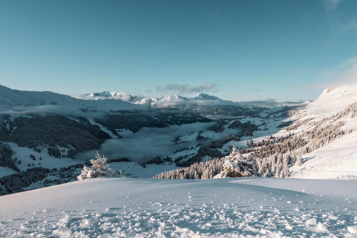 Sonnenuntergang in Parpan im Skigebiet Arosa-Lenzerheide