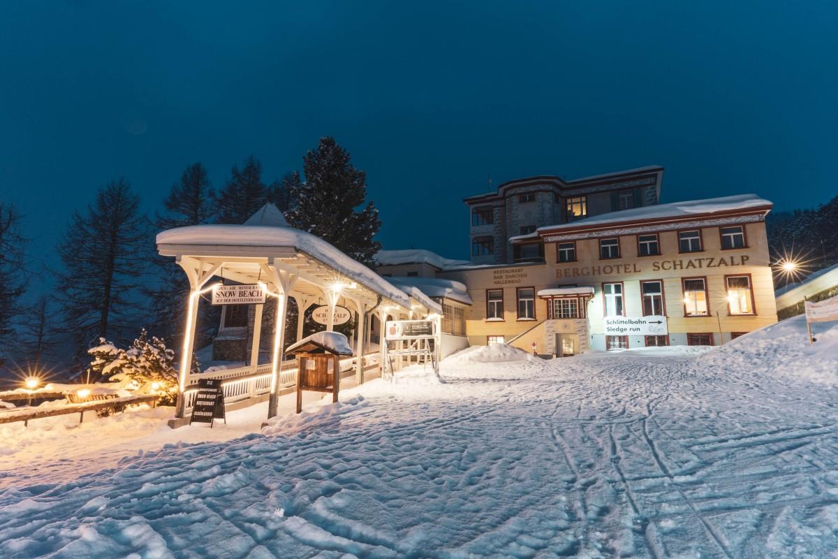 Berghotel Schatzalp in Davos bei Nacht