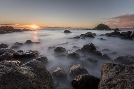 Sonnenuntergang auf Monkey Island, Neuseeland