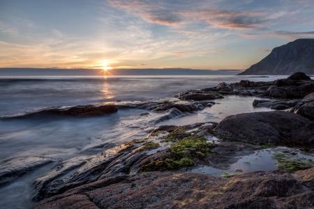 Sonnenuntergang in Flakstad, Norwegen