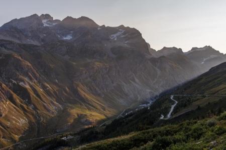 Sonnenaufgang an der Passstraße zum Col de l'Iséran, Frankreich