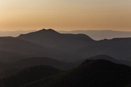 Sonnenuntergang am Pic du Cap Roux an der Côte d'Azur, Frankreich