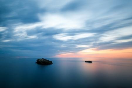 Sonnenuntergang in Biarritz am Atlantik, Frankreich