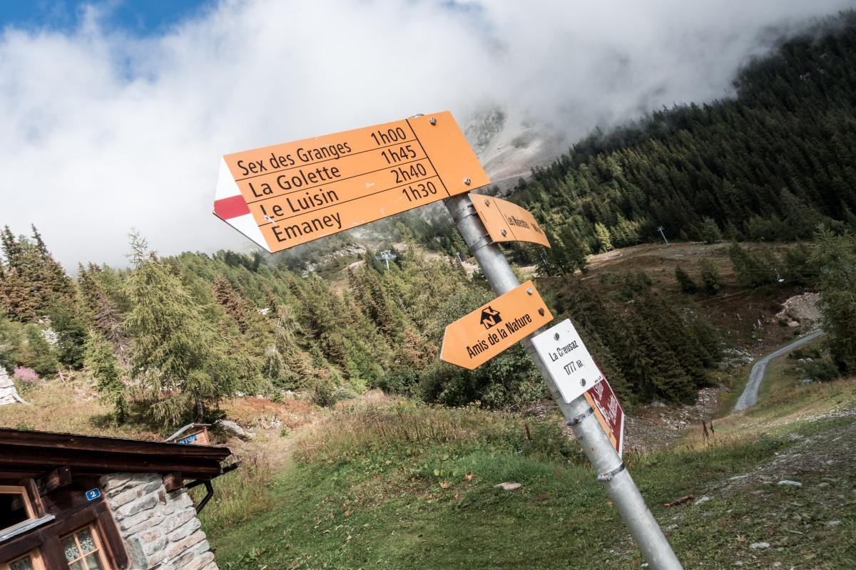 Wegweiser im Skigebiet Les Marécottes