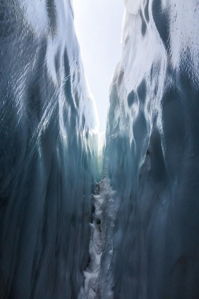 Gletscherspalte am Glacier de la Girose in La Grave