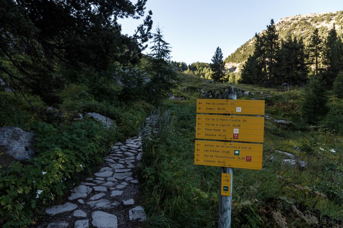 Wegweiser zum Lac d'Allos