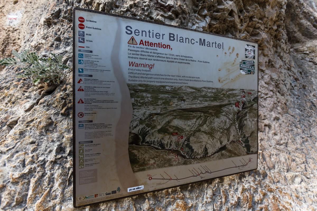 Wegbeschreibung des Sentier Blanc-Martel in den Gorges du Verdon