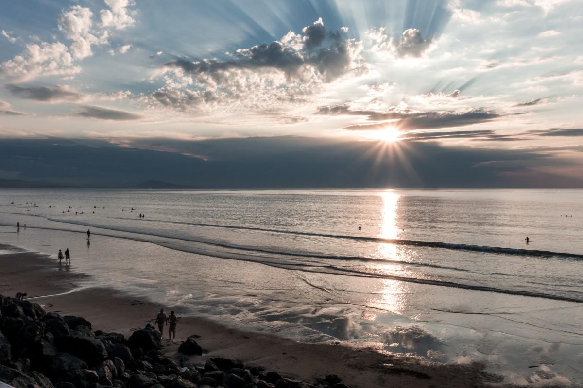 Sonnenuntergang am Strand von Biarritz am Atlantik