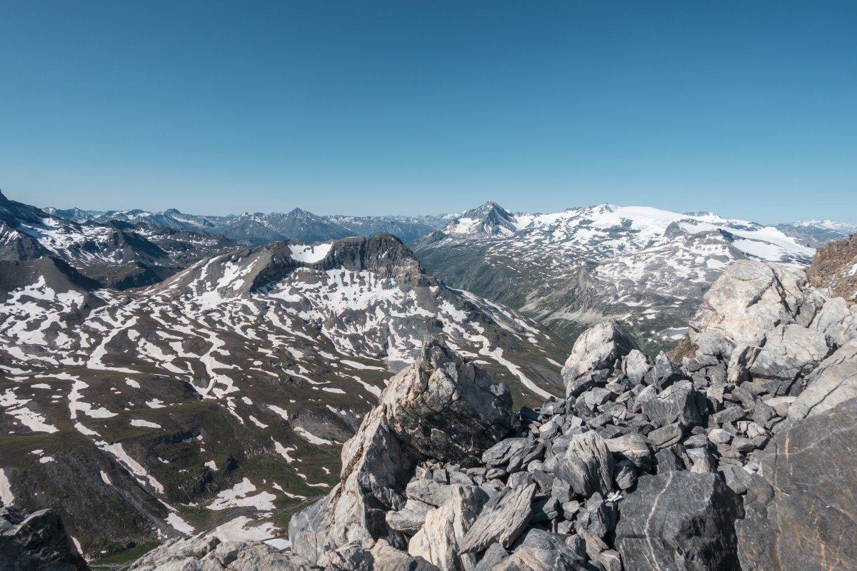 Panorama über den Nationalpark Vanoise von der Grande Motte