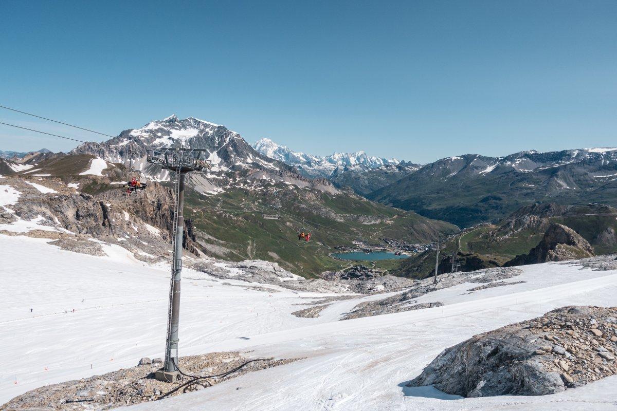 Sommerski in Tignes an der Grande Motte mit Sesselbahn Vanoise