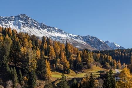 Herbst in Churwalden mit Blick auf das Parpaner Rothorn