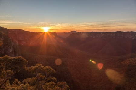 Sonnenaufgang am Govettes Leap Lookout im Blue Mountains National Park