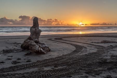 Sonnenuntergang in Koitiata, Neuseeland