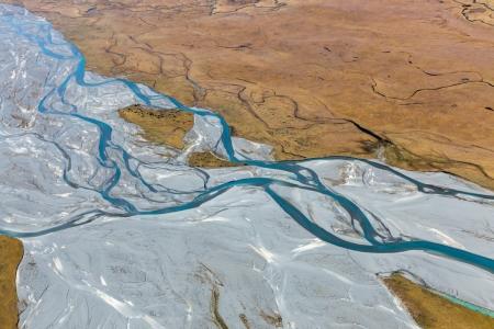 Luftaufnahme des Godley River