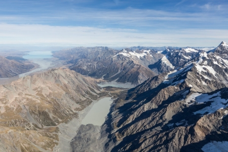 Hooker Valley, Mount Cook Village und Lake Pukaki aus der Luft