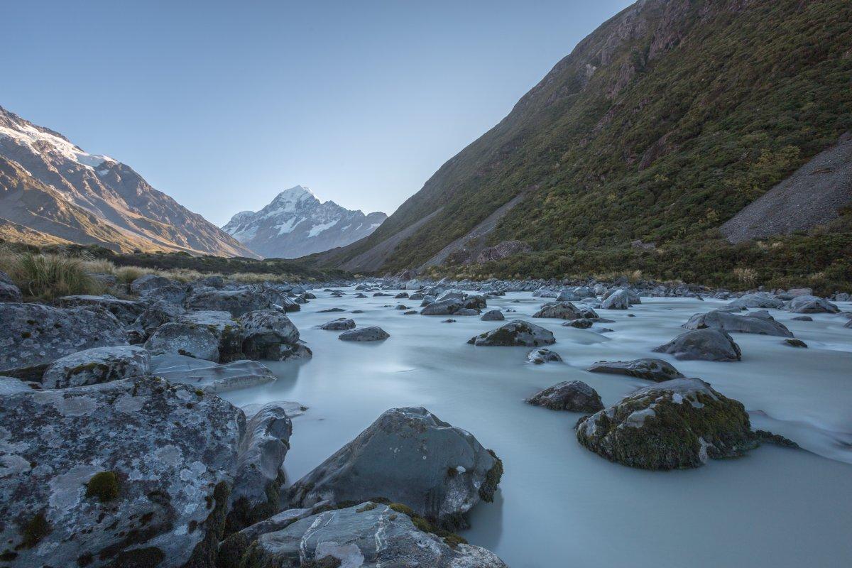 Langzeitbelichtung mit Graufilter in Neuseeland am Mount Cook
