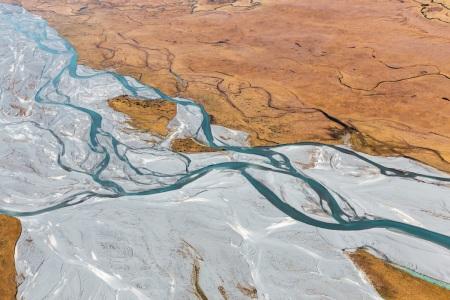 Luftaufnahme des Godley River am Lake Tekapo in Neuseeland