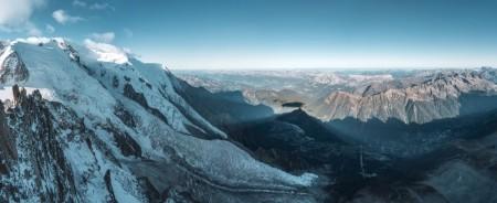 Panorama von der Aiguille du Midi mit Glacier des Bossons