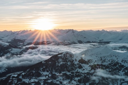 Sonnenuntergang am Parpaner Rothorn in Graubünden