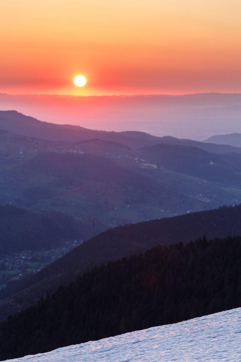Sonnenaufgang am Hohneck in den Vogesen
