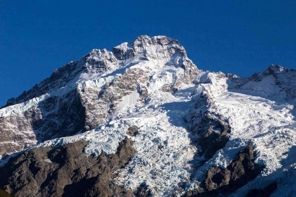 Die Gletscherwelt des Mount Cook National Park am Morgen