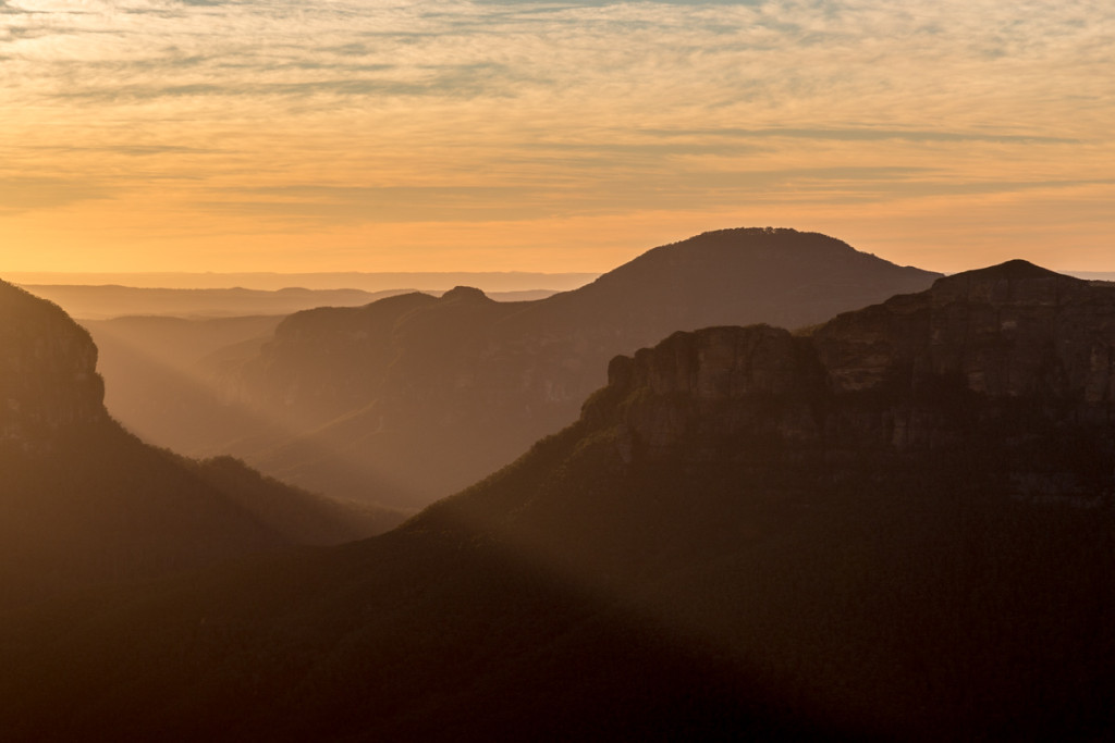 Sonnenaufgang im Blue Mountains National Park
