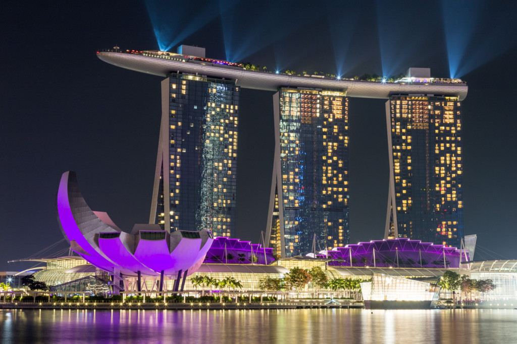 Lasershow am Marina Bay Sands Hotel