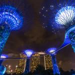 Gewitter über dem Singapore River & Gardens by the Bay