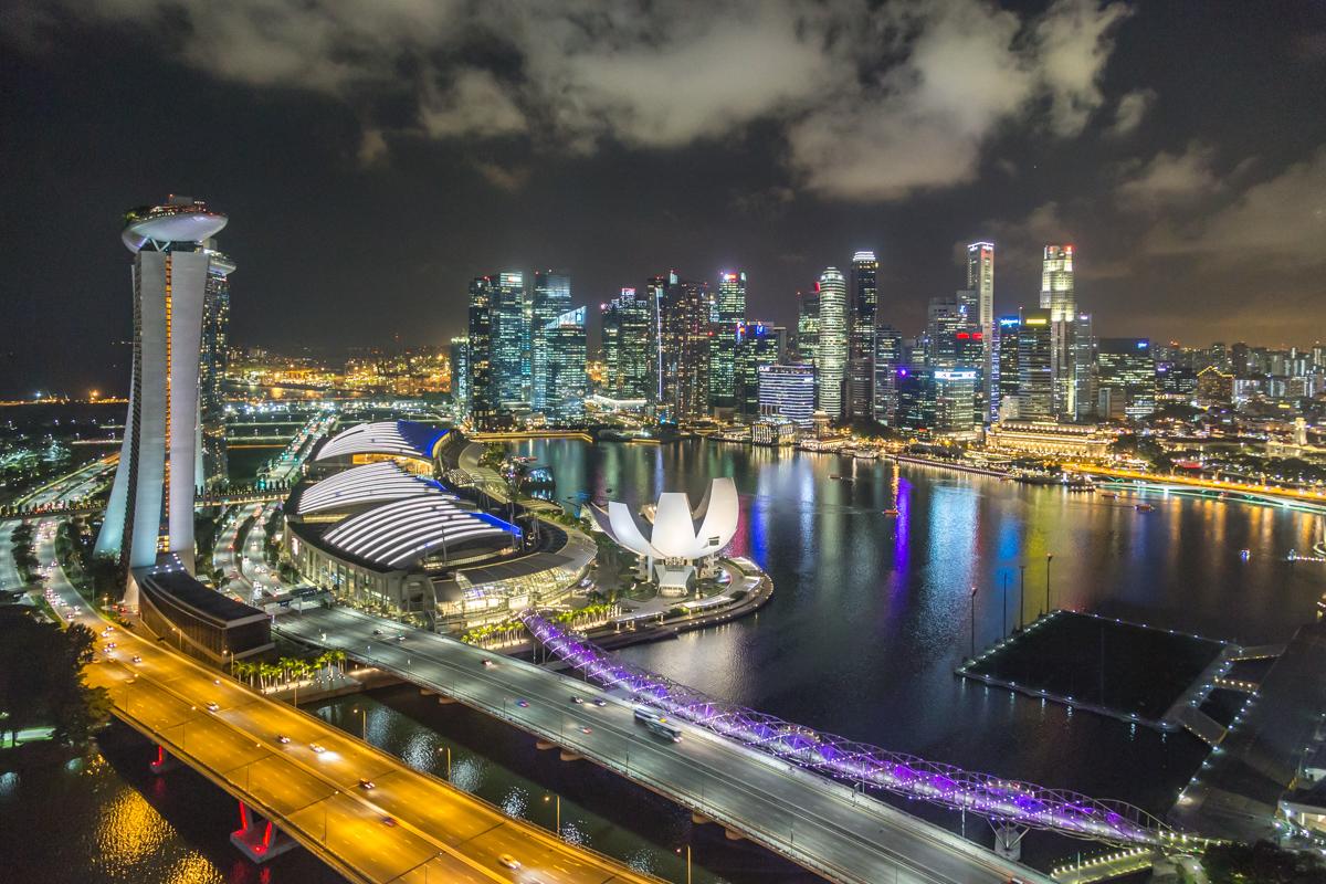 Aussicht vom Singapore Flyer auf Marina Bay