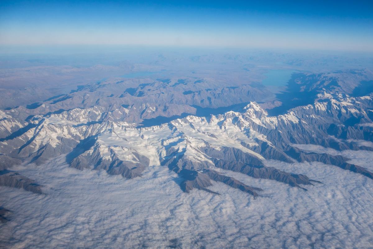 Neuseeland Südinsel aus dem Flugzeug