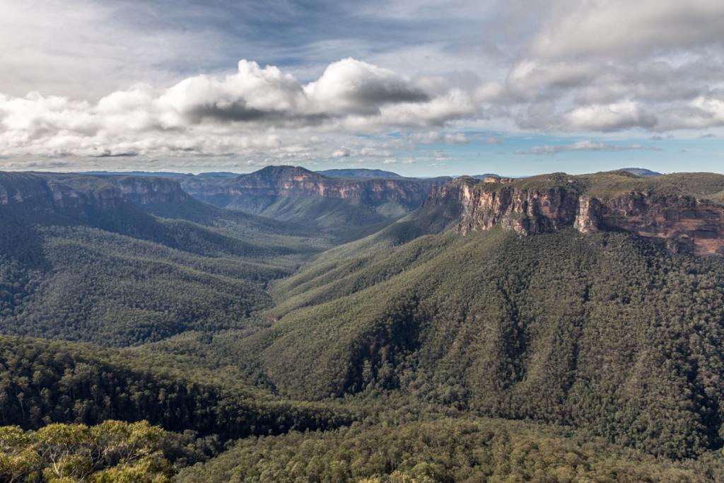 Ausblick vom Evans Lookout auf den australischen Grand Canyon