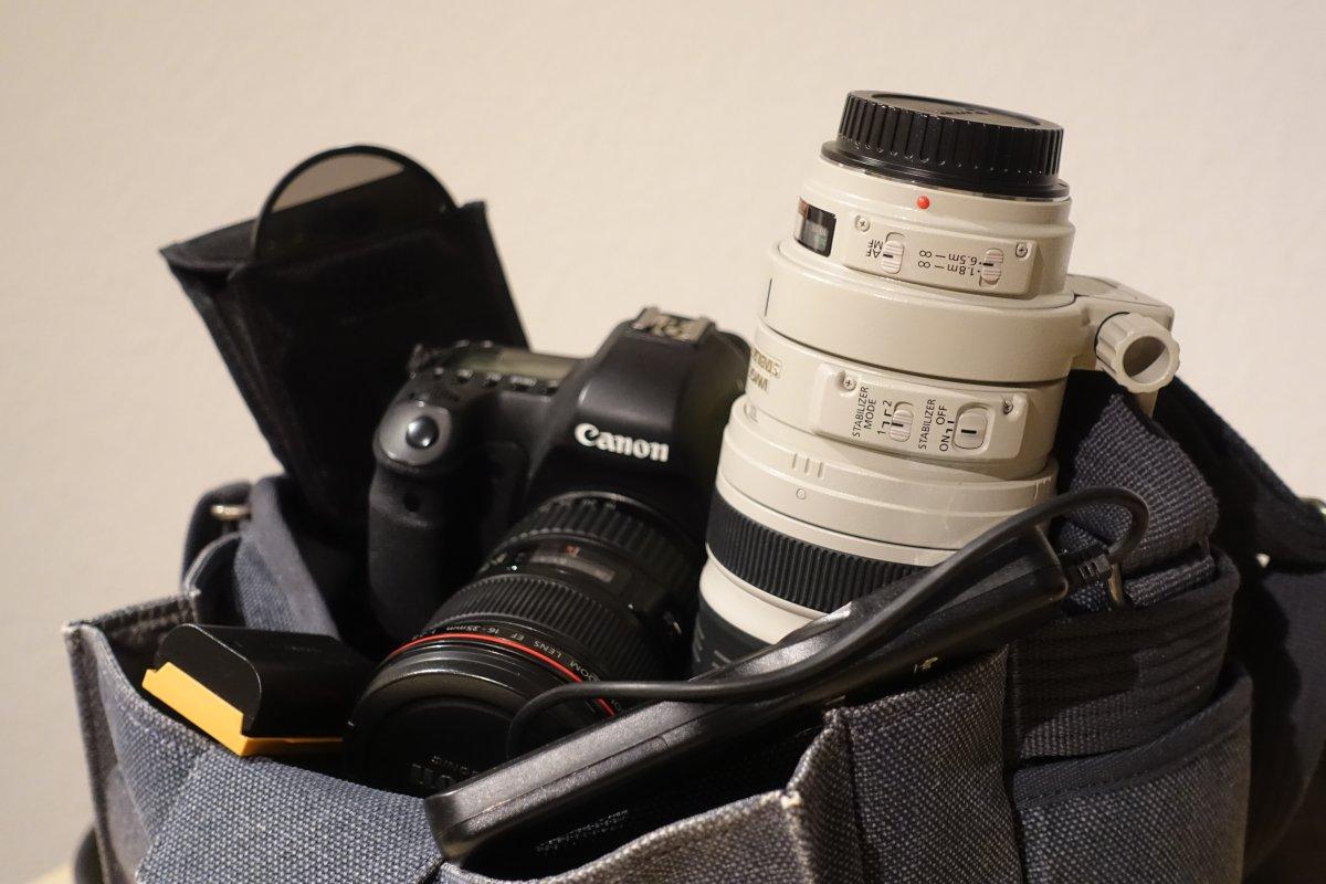Packliste für Fototasche mit Kamera und Objektiv